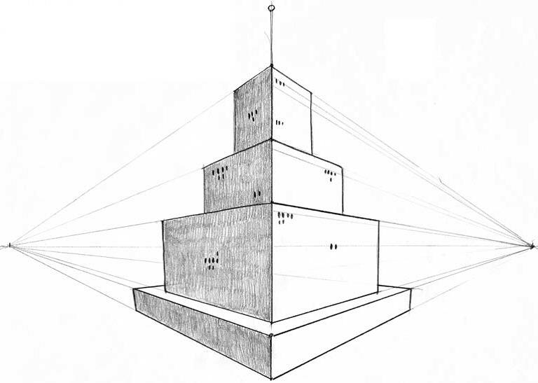 Башня в двухракурсной перспективе п.9