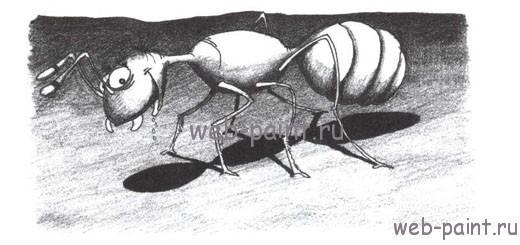 как нарисовать муравья карандашом