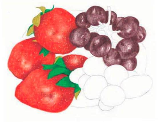 как-нарисовать-натюрморт-с-фруктами-цветными-карандашами4