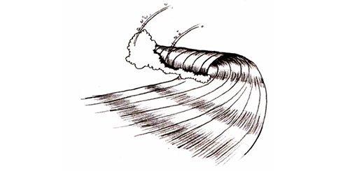 Как нарисовать волны карандашом поэтапно