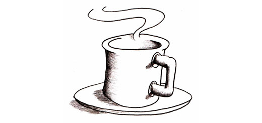 Как нарисовать чашку кофе, кратеры карандашом поэтапно