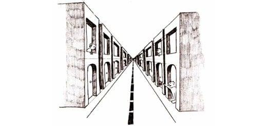 Фронтальная перспектива на примере города