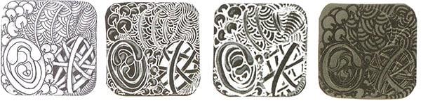 Первый квадрат сделан маркером-лайнером Micron и карандашом. Второй нарисован ручкой Gelly Roll белого цвета, затенен белым карандашом. Для третьего квадрата использована ручка фирмы Souffle и угольный карандаш для затенения. Последний нарисован гелевой ручкой Glaze с блеском.