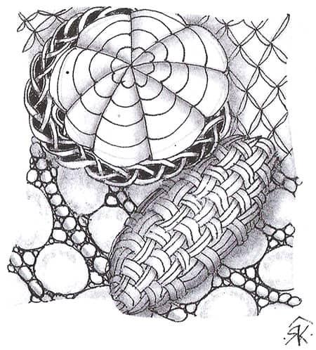 Обратите внимание, что округление линий в уторе «Плетение помогает придать форме объем.