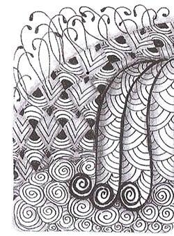 «Ракушка» — основной узор в этой работе. Он имеет самый светлый контраст и переходит в «Спираль». Узор «Спираль» лежит у основания узора «Ракушка», поскольку требует более темного контраста. Решетка позади узоров «Ракушка» и «Спираль» граничит с <i>рисовать</i> обоими узорами; ей необходим более темный тон по сравнению с ними.