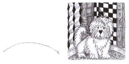 Рисунок начинается с выгнутой линии горизонта. Затем ручкой на-рисовали Игги. Аекоративный заборчик разместили на выпуклом горизонте, взяв простой каранлаш, — он обозначает границы рисун-ка. Аалее узор лополнили, используя маркер Micron 01, и затенили.