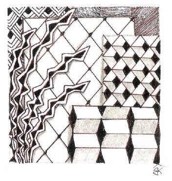 Все элементы этого рисунка состоят из прямых линий, начиная строкой и заканчивая узорами и затенением.