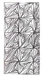 Узор «Парадокс Рика» нарисо- ван так: сначала прямоугольник, затем делим его на два квадрата, а каждый квадрат — на два треугольника. Далее рисуем узор в каждом треугольнике.