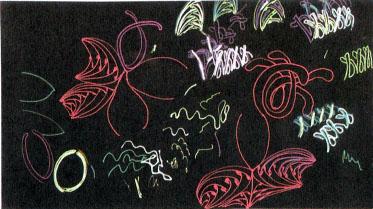 Ожидая, пока высохнут чернила, я проверяю сочетание цветов на листке макулатурной бумаги. В этом рисунке использованы лишь гелевые ручки.