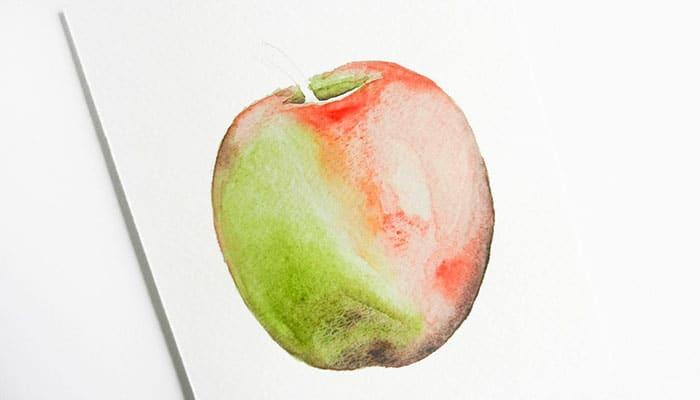 как нарисовать яблоко акварелью (11)