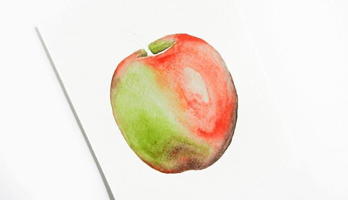 как нарисовать яблоко акварелью (12)