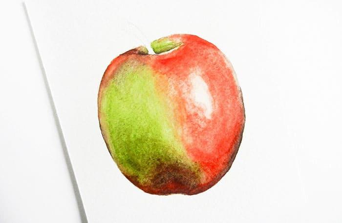 как нарисовать яблоко акварелью (14)