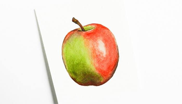 как нарисовать яблоко акварелью (16)