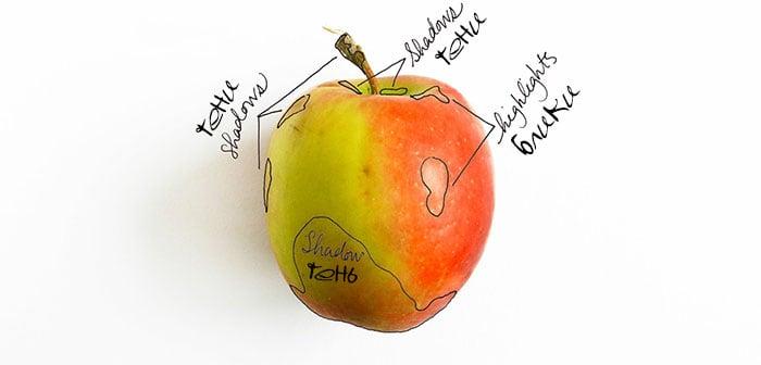 как нарисовать яблоко акварелью (3)
