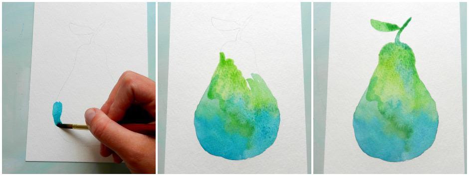 как нарисовать грушу акварелью (4)