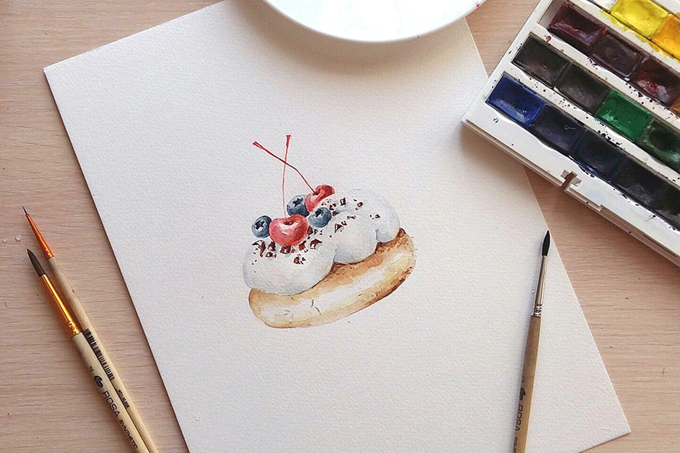 как нарисовать пироженое