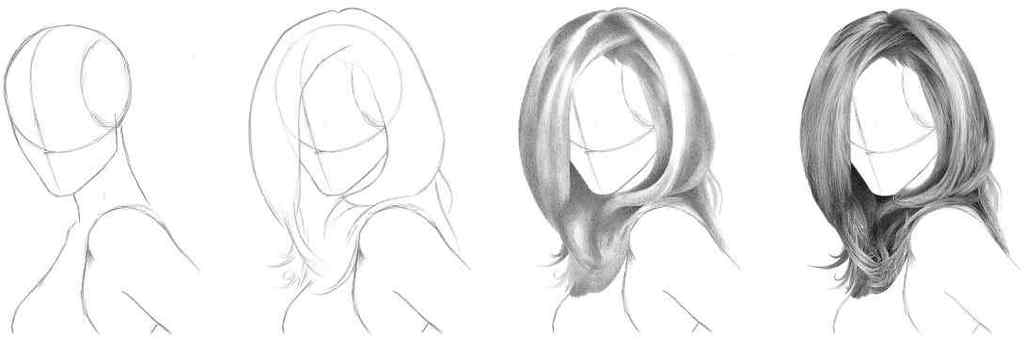 как нарисовать волосы в заде