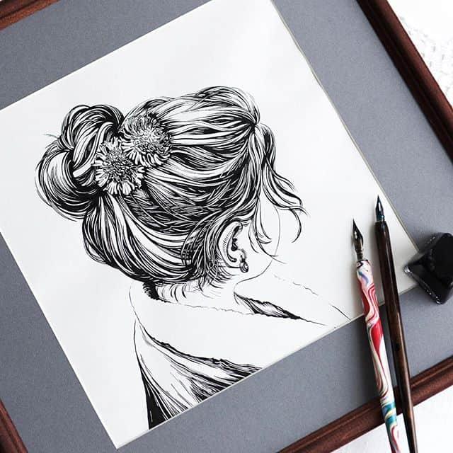 Как рисовать тушью