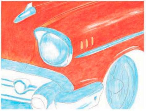 Курс рисования цветными карандашами. Классический автомобиль
