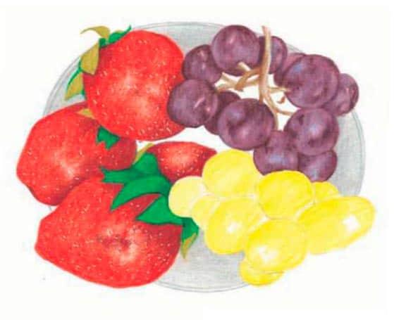 как-нарисовать-натюрморт-с-фруктами-цветными-карандашами3
