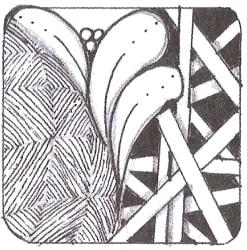 """Если тангл """"Поток"""" в середине, то взгляд сначала притягивают более темные участки узора, и далее он скользит по всему рисунку."""