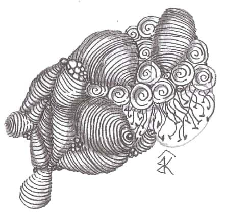 """Пример зентангла с использованием танглов """"Изохора"""" и """"Спираль""""."""