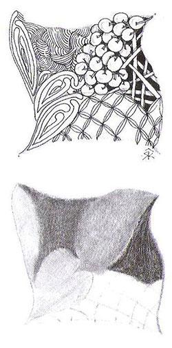 Рисуя тангл, не забывайте рассматривать его под разными углами. Тональная шкала — своеобразная карта затененных участков.