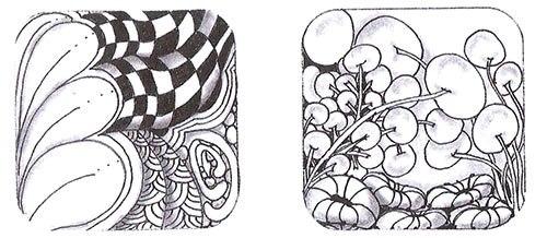 Вокруг узора «ПОТОК» изображены четыре ореола: первый и второй — «Рыцарский мост»; третий и четвертый выделены, а внизу добавлен узор «Ракушка». Под узором «Рыцарский мост» — четыре ауры. Скругление дает узору основу, создает глубину и ощущение пространства. Ореолы делают узоры светлыми и воздушными, а скругление помогает объединить «Ножку ваточника», «Муку» и «Камни» в одну композицию.