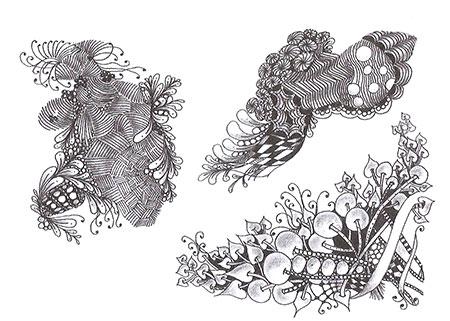Каждый свой рисунок Джули начинает с одного узора, который переходит или преобразуется в новый. В примере вверху слева композицию начинает «Изохора», в примере вверху справа — «Нипа», а внизу — «Бамбук».