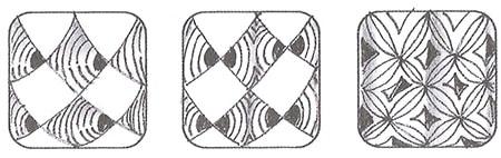 Слева направо: два варианта узора «Чешуйки» и один вариант «Гортензии». Это прекрасные примеры того, как при небольшой вариации узор меняется в целом. Если сделать тангл «Чешуйки» не сплошным, становится другим его тональный контраст. Если пойти еще дальше и раскрасить кончик, изменится объем. Если в узоре «Гортензия» раскрасить половинки ромбиков в центре и добавить тень, возникает иллюзия, что узор переливается.