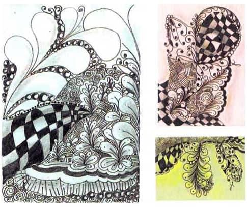 Первый рисунок нарисован на белой плитке, которая частично по¬крыта слоем, созданным карандашами синего цвета Gelato. На втором - нарисованы танглы по ахроматической шкале на розовой художественной карточке. В зеленой карточке использовался светло-зеленый пастельный карандаш для бликов и темно-зеленый для тени.
