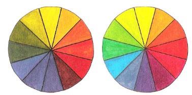Я расположила кадмий красный над вермильоном, потому что сочетание красного с желтым больше гармонирует в кадмии красном. Я выбрала хинакрилоновый красный над ализариновым красным, потому что в хинакрилоновом красном более сбалансированное соотношение красного и синего.