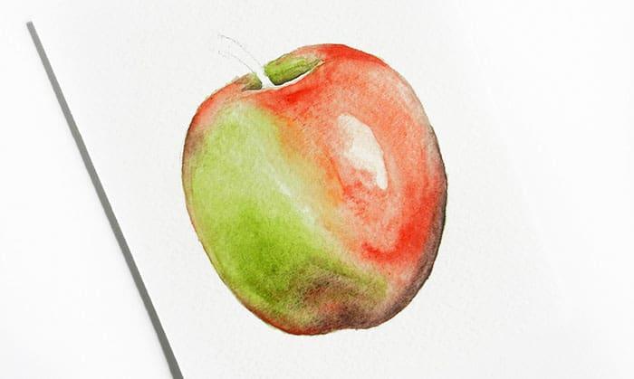 как нарисовать яблоко акварелью (13)