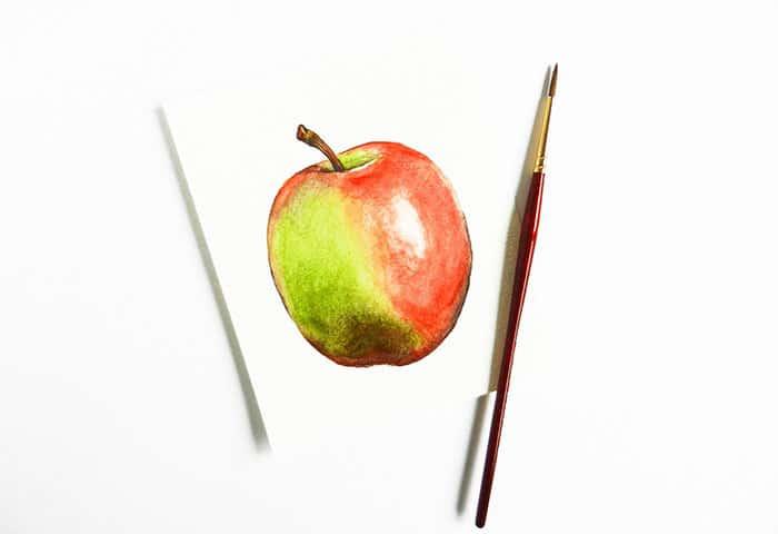как нарисовать яблоко акварелью (15)