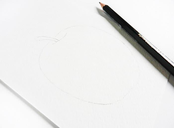 как нарисовать яблоко акварелью (5)