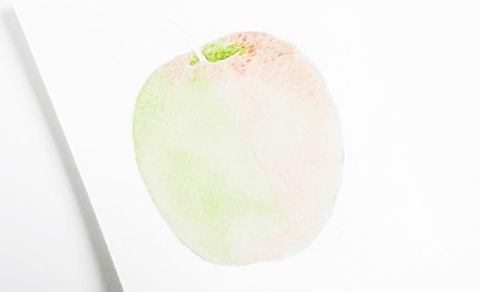 как нарисовать яблоко акварелью (6)