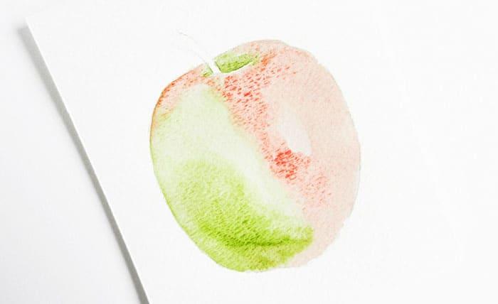 как нарисовать яблоко акварелью (7)