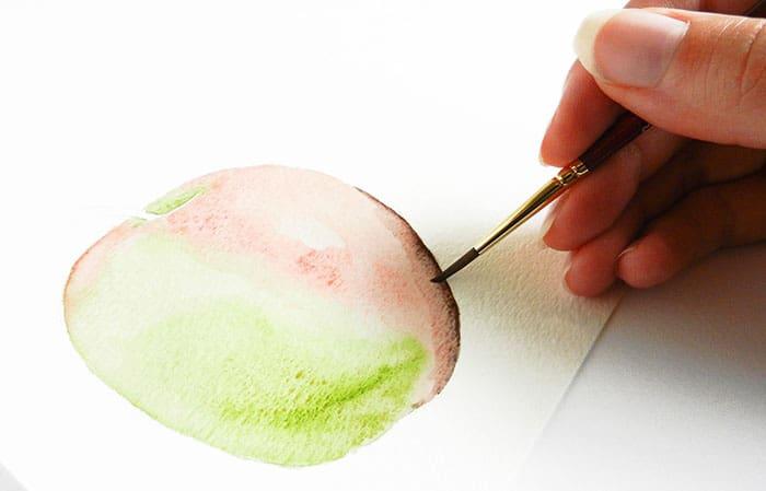 как нарисовать яблоко акварелью (9)