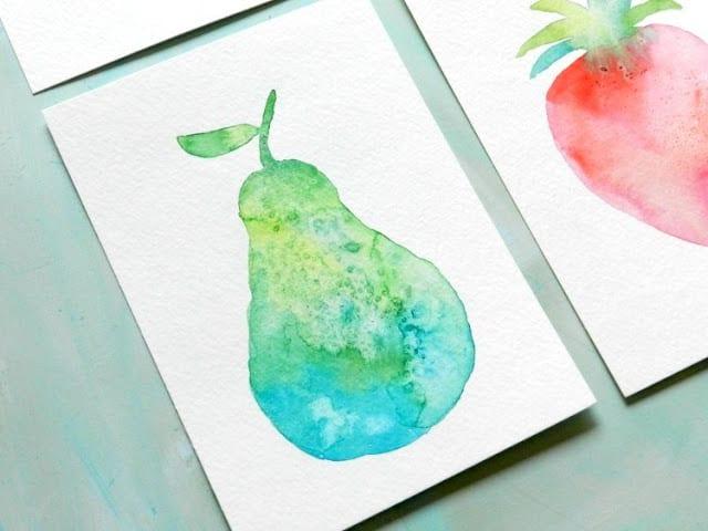 как нарисовать грушу акварелью (1)
