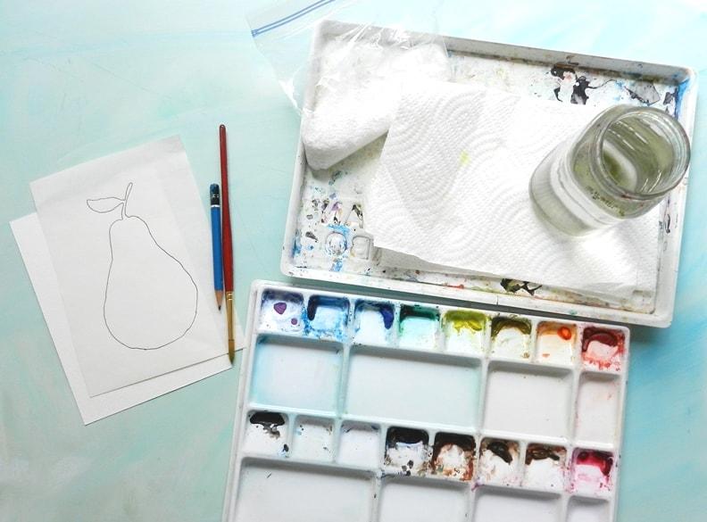 как нарисовать грушу акварелью (2)