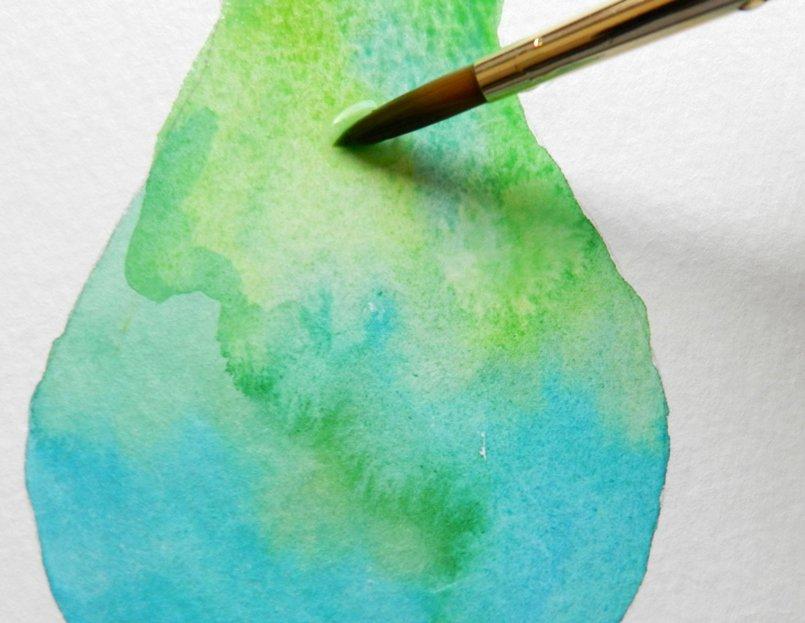 как нарисовать грушу акварелью (5)