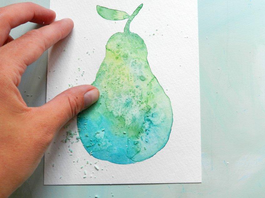 как нарисовать грушу акварелью (7)
