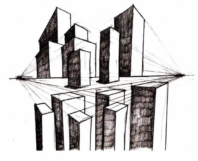 УРОК 26. Построение угловой перспективы (на примере города)