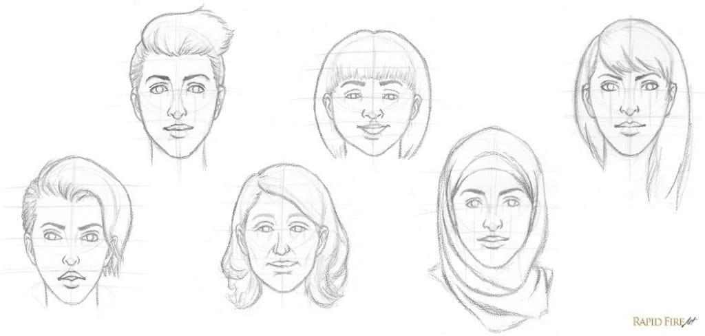 рисунки лица людей поэтапно для начинающих них есть