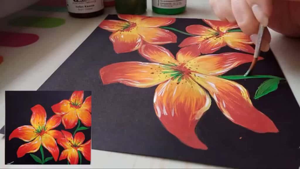 Как нарисовать цветы гуашью поэтапно