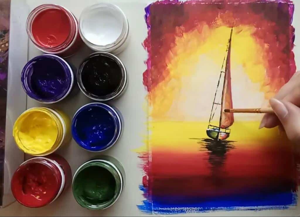Как нарисовать море гуашью